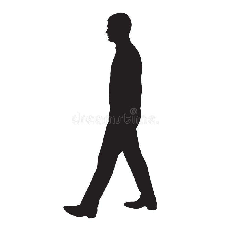 Profil de marche d'homme, vue de côté, silhouette illustration de vecteur