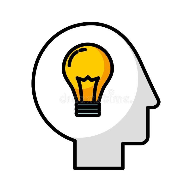 Profil de tête humaine avec l'ampoule illustration libre de droits