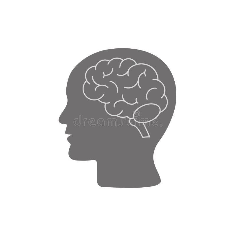Profil de t?te humaine avec le symbole de cerveau, ic?ne noire simple, illustration de vecteur d'isolement sur le fond blanc illustration stock
