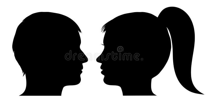 Profil de visage d'homme et de femme illustration stock