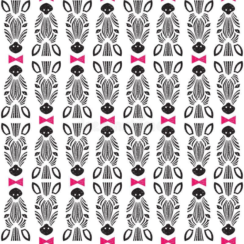 Profil de zèbre avec l'arc, modèle sans couture Conception à la mode animale de tissu, papier peint, illustration, vecteur photographie stock libre de droits