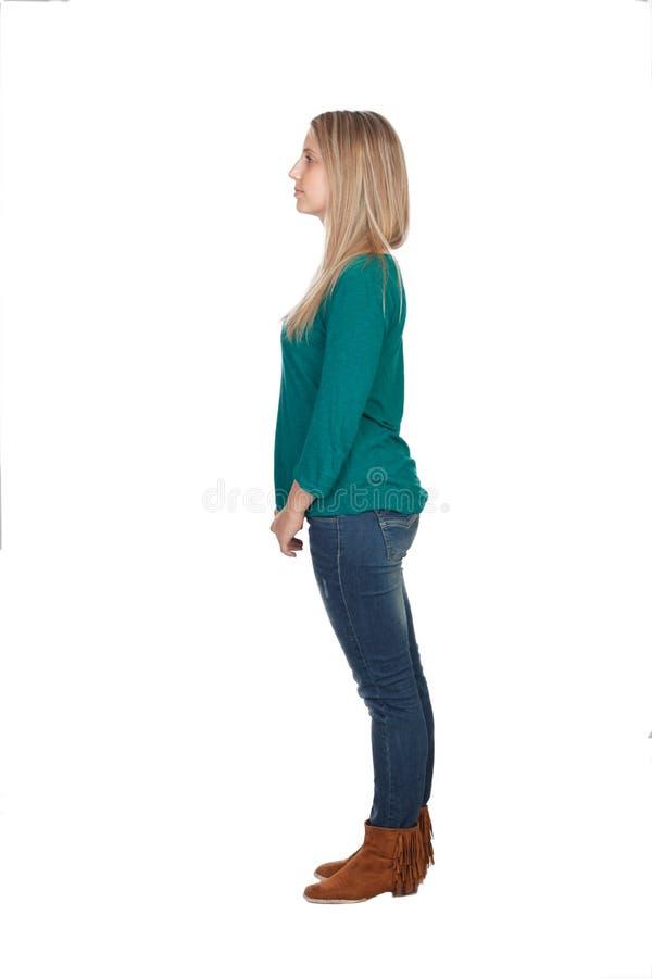 Profil der attraktiven Frau mit dem blonden Haar stockfotos