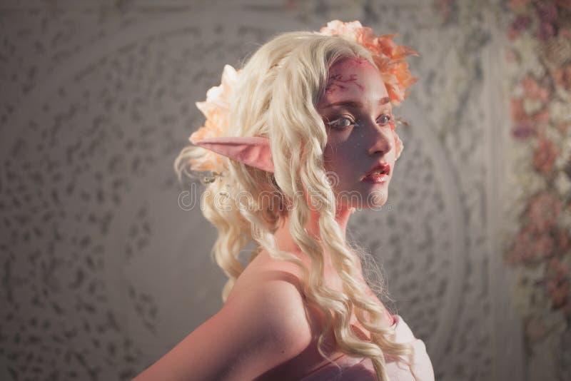 Profil der Mädchenelfe Fantasie und Märchen, Computerspiele Mysteriöse Fee stockfotografie