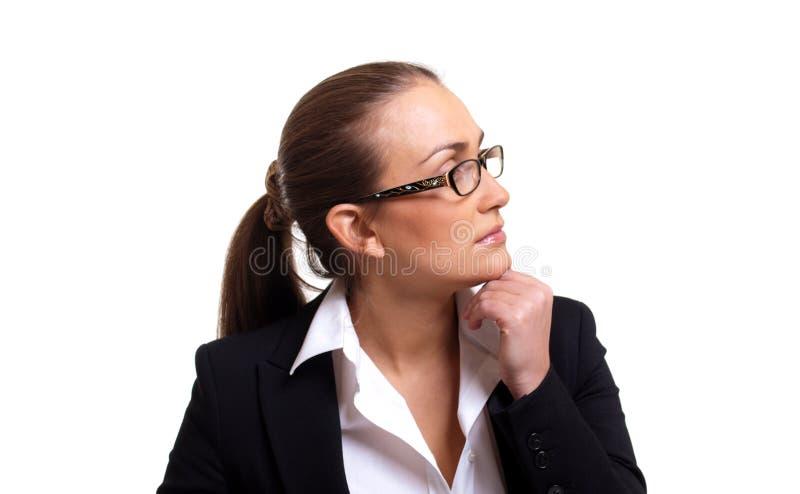 Profil der nachdenklichen Geschäftsfrau in den Gläsern stockbilder