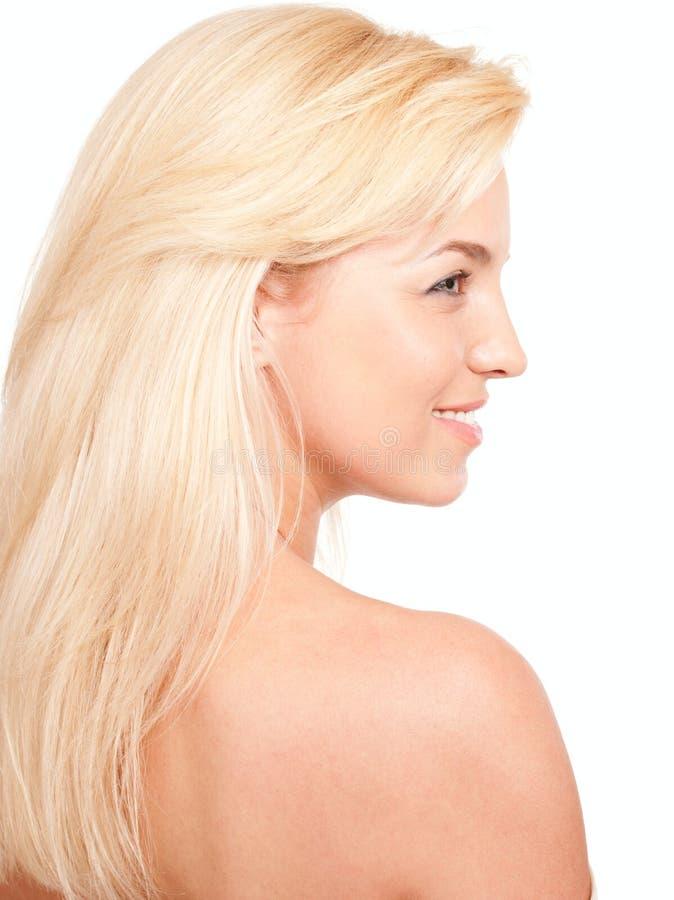 Profil der schönen blonden Frau lizenzfreie stockbilder