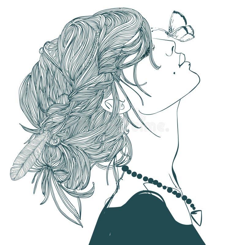 Profil der Schönheit mit Schmetterling lizenzfreie abbildung