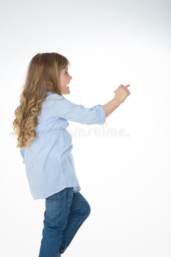 Profil des blonden Mädchens von hinten stockfoto