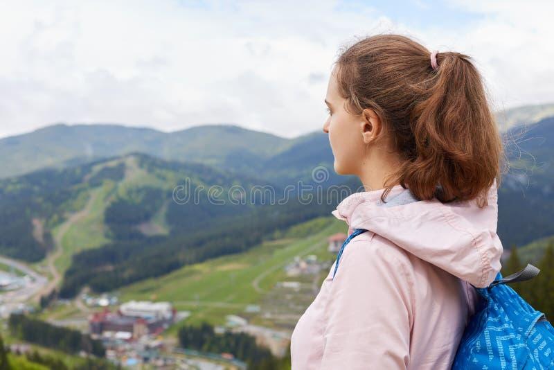 Profil des erfahrenen Reisenden mit tragendem Rucksack des Pferdeschwanzes und rosafarbener Jacke, Berglandschaft genießend und h lizenzfreies stockfoto