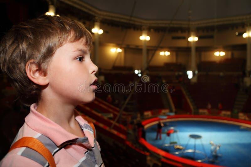 Profil des Jungen im Zirkus, der Seite betrachtet lizenzfreies stockfoto