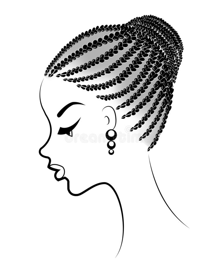 Profil des Kopfes einer süßen Dame Ein Afroamerikanermädchen zeigt ihre Frisur auf mittlerem und kurzem Haar Silhouettieren Sie,  lizenzfreie abbildung