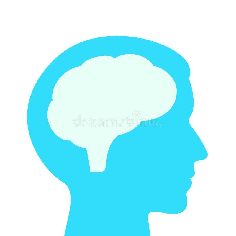 Profil des menschlichen Kopfes und Gehirnvektorillustration lizenzfreie abbildung
