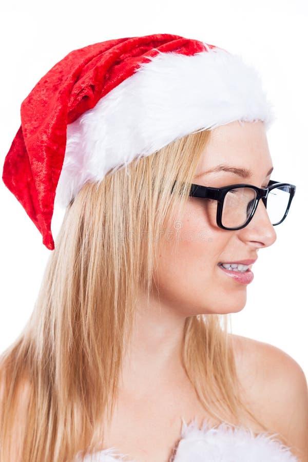 Profil des Weihnachtsfrauengesichtes stockbild