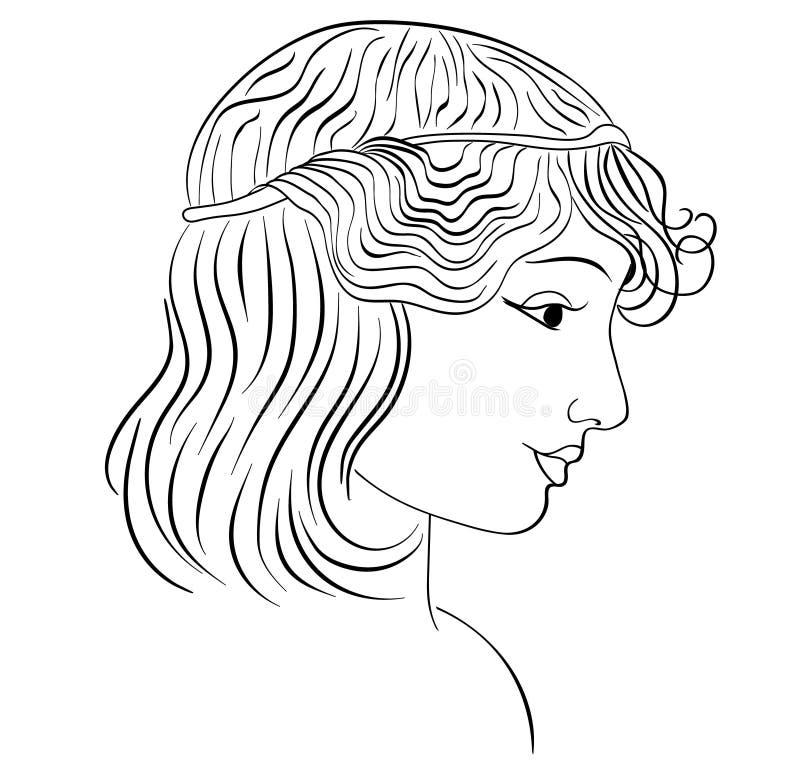 Profil dessiné de fille, cheveux onduleux, fond blanc Illustration illustration stock