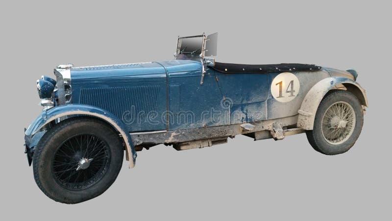 Profil een onbekende oud-tijdopnemer retro uitstekende sportwagen stock afbeelding