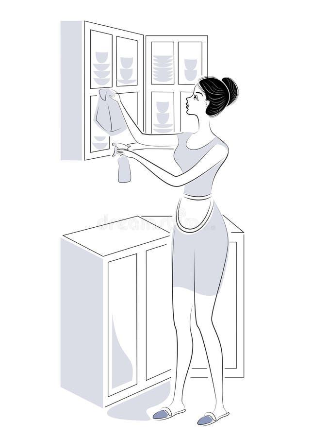 Profil einer s??en Dame Das M?dchen entfernt Staub in der K?che, w?scht den Wandschrank Eine Frau ist eine gute Frau und eine ord vektor abbildung