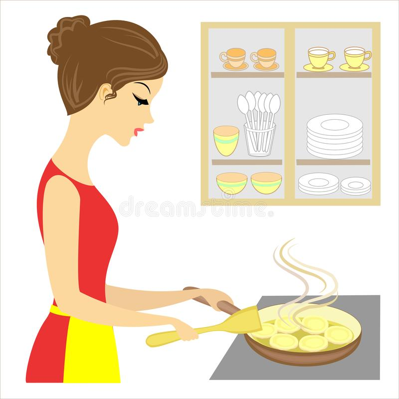Profil einer sch?nen Dame Das Mädchen bereitet Nahrung für die Familie zu Braten Sie köstliche Pfannkuchen auf einer Platte in ei stock abbildung