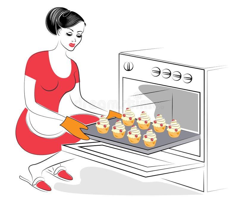 Profil einer sch?nen Dame Das M?dchen bereitet Nahrung zu Backen Sie in den festlichen Plätzchen des Ofens, in den Muffins mit Me lizenzfreie abbildung