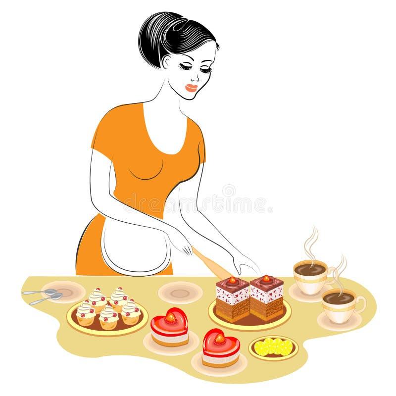 Profil einer sch?nen Dame Das M?dchen bereitet Nahrung zu Bereitet eine süße festliche Tabelle mit einem Kuchen und ein Tee oder  vektor abbildung