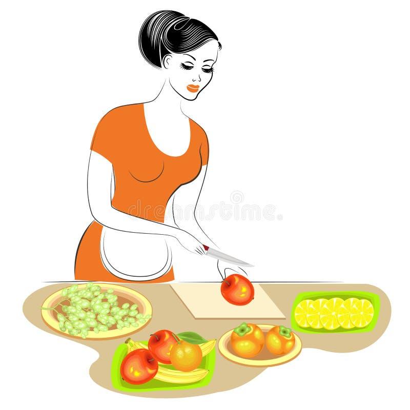 Profil einer sch?nen Dame Das M?dchen bereitet Nahrung zu Sie stellt die Tabelle der Frucht ein Es schneidet Äpfel, Zitrone, Oran lizenzfreie abbildung