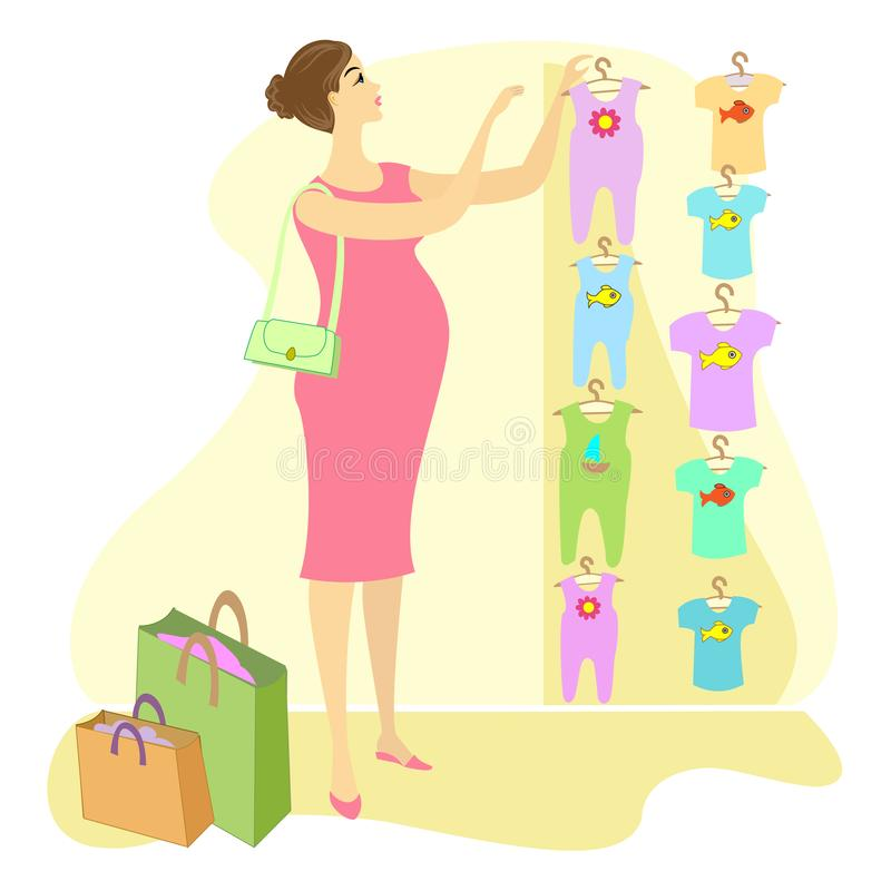 Profil einer sch?nen Dame Eine schwangere Frau, kauft sie Kleidung für ihr Kind Wählen Sie in den Speicher Schiebern und den T-Sh stock abbildung