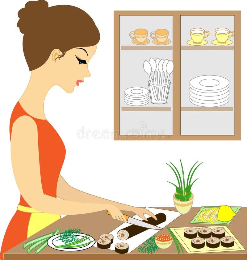 Profil einer sch?nen Dame Nettes Mädchen kocht Sushi, macht Rollen Sie ist eine erfahrene Hosteß Auch im corel abgehobenen Betrag vektor abbildung