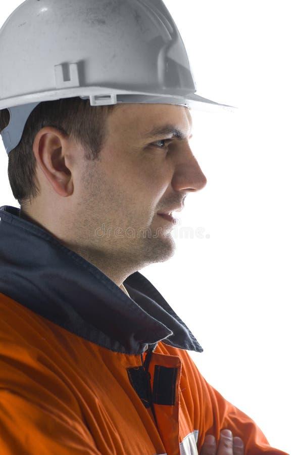 Profil eines Bergmannes stockfoto