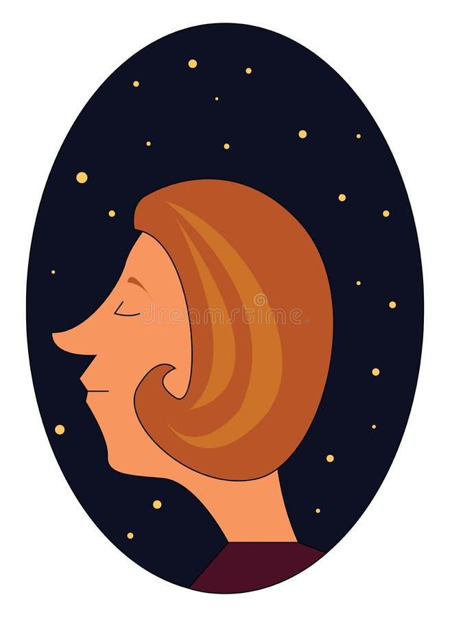 Profil eines Mädchens in der nächtlichen Vektorgrafik lizenzfreie abbildung