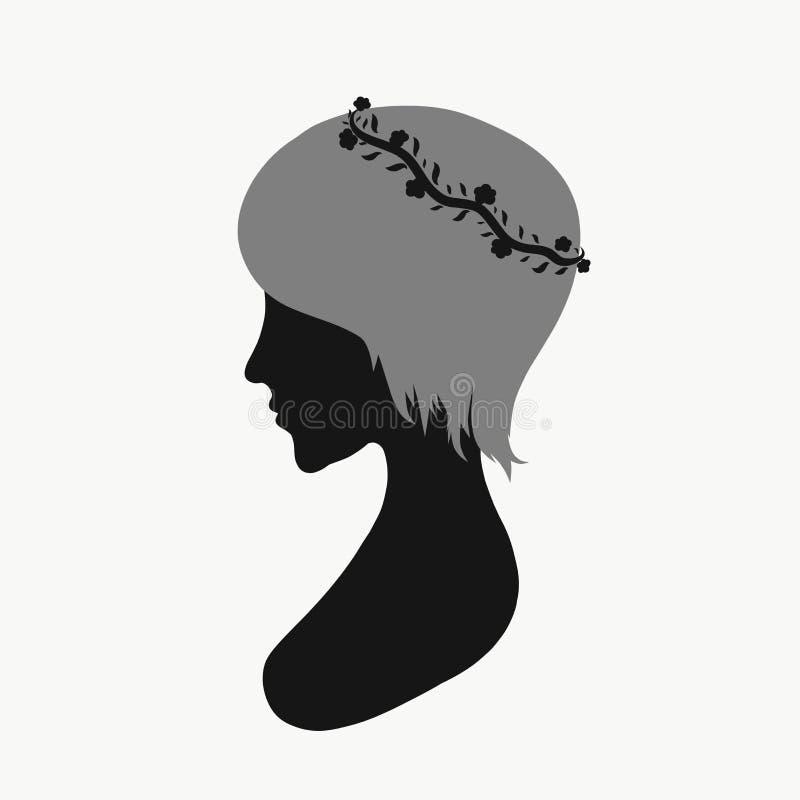 Profil eines Mädchens mit einem kurzen Haar und einem Kranz vektor abbildung