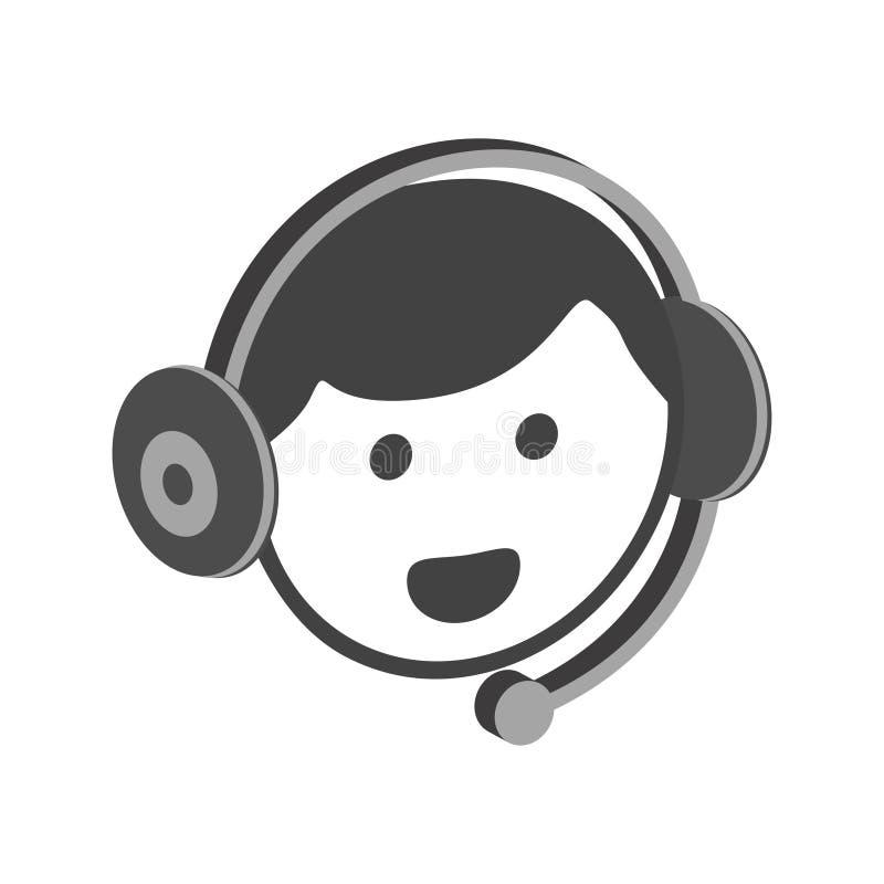 Profil en ligne femelle de personne de client de vecteur d'icône de service de support illustration de vecteur