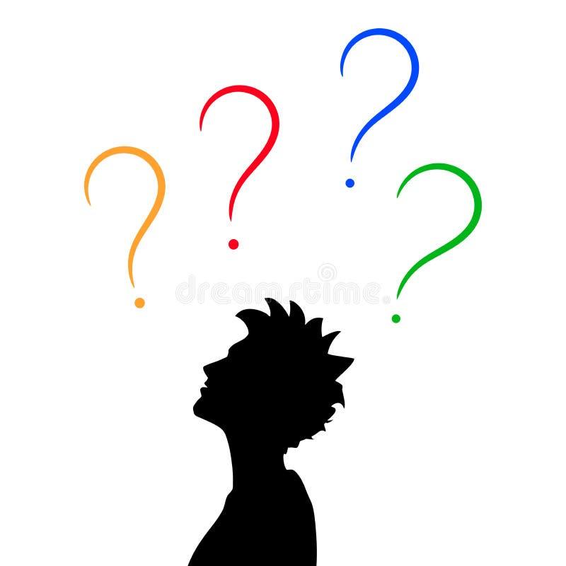 Profil et points d'interrogation principaux masculins illustration libre de droits