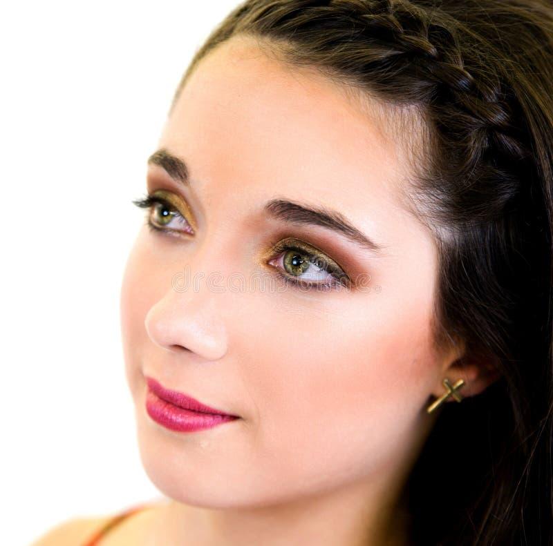 Profil för framsida för slut för ung kvinna för stående övre arkivbild
