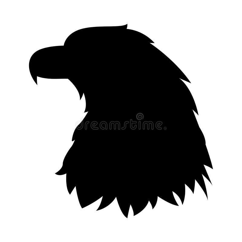Profil för kontur för svart för illustration för Eagle huvudvektor stock illustrationer
