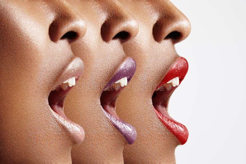 Profil för kvinna` s med den öppna munnen royaltyfri foto