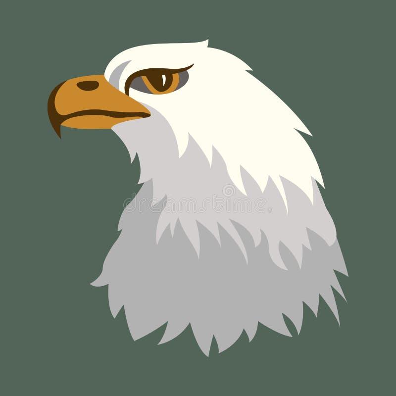 Profil för stil för lägenhet för illustration för Eagle huvudvektor stock illustrationer