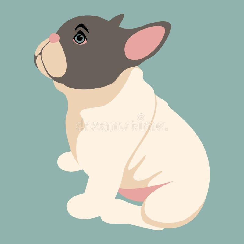 Profil för stil för lägenhet för illustration för vektor för hundbulldoggvalp royaltyfri illustrationer