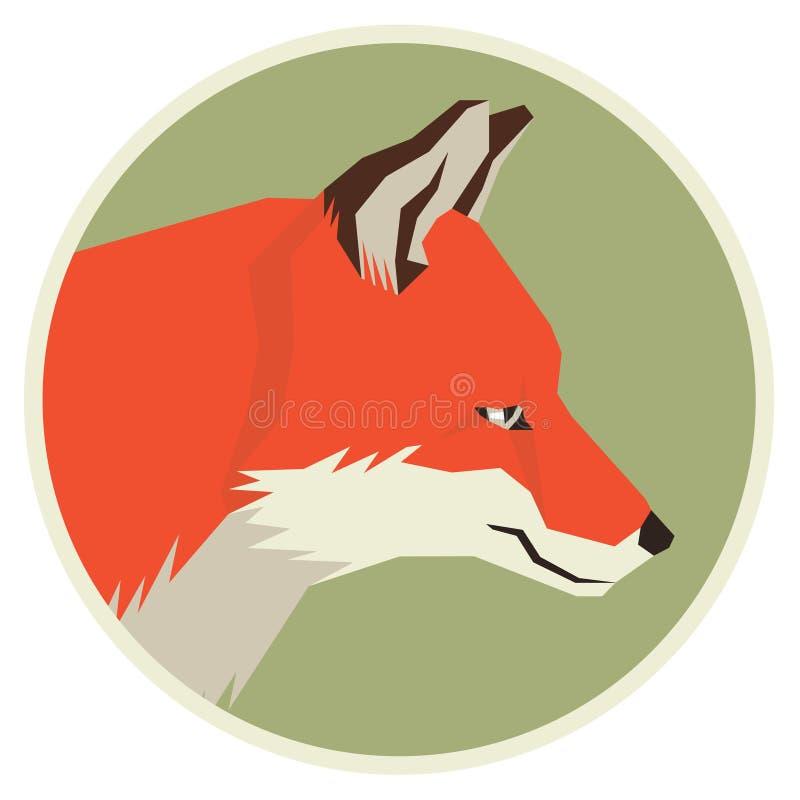 Profil för vilda djursamlingshuvud av geometrisk stil för röd räv stock illustrationer