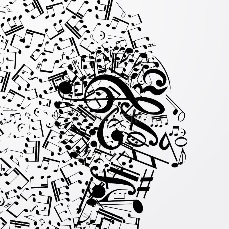 Profil femelle abstrait composé de signes musicaux, notes illustration stock