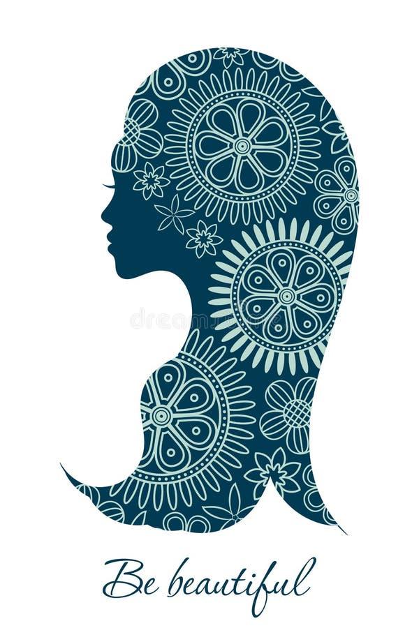 Profil femelle de coupe florale pour la station thermale et la décoration de salon de beauté illustration libre de droits