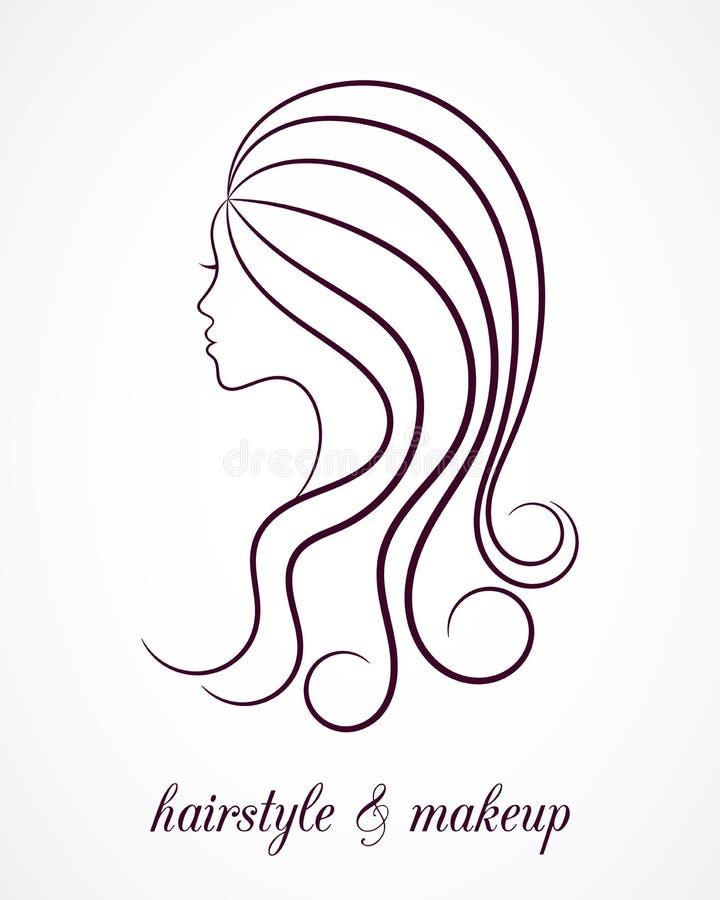 Profil femelle de découpe pour le logo de salon de beauté illustration stock