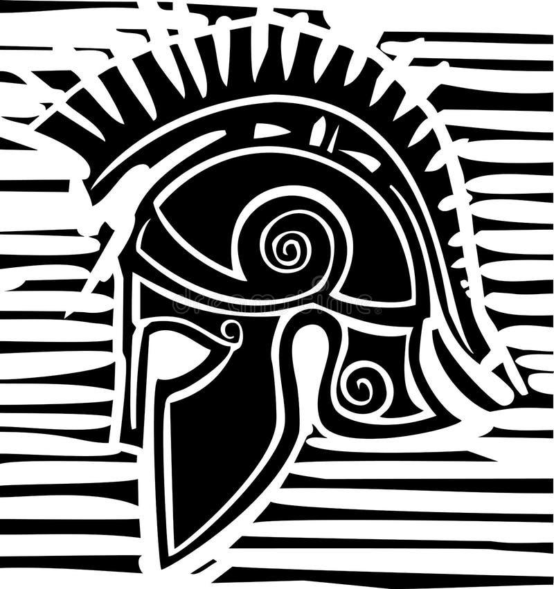 Profil grec de casque de Hoplite illustration de vecteur