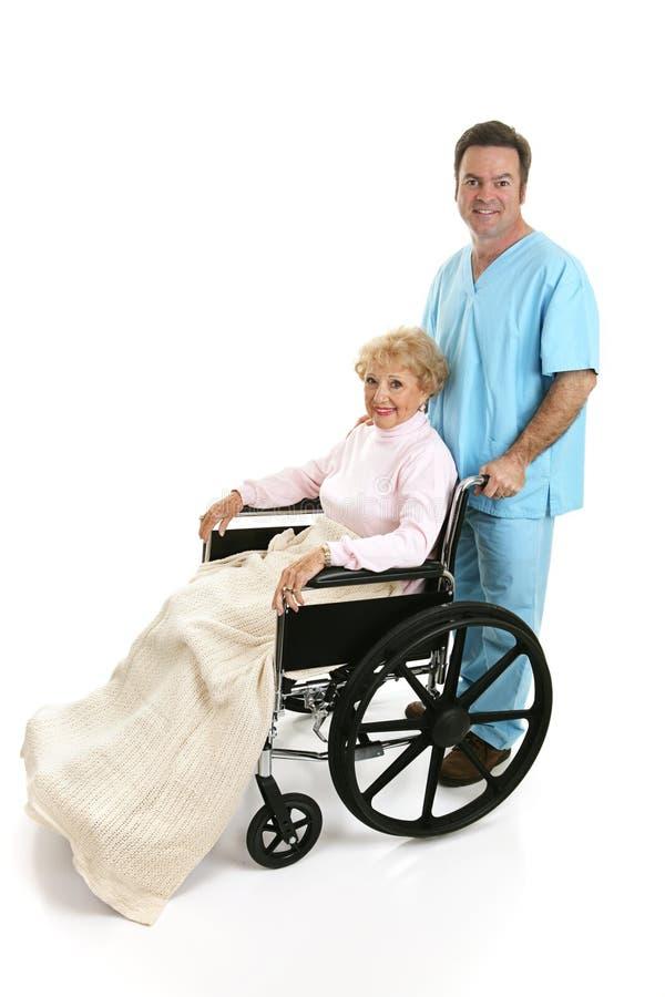 Profil handicapé aîné et d'infirmière images libres de droits
