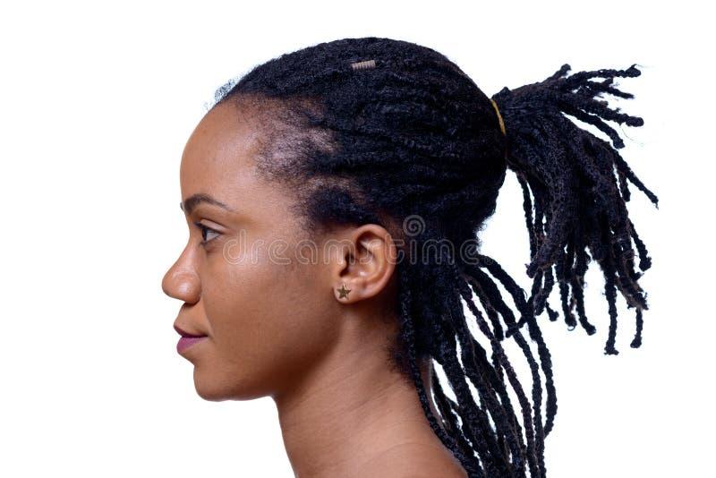 Profil Headshot der dunkelhäutigen Frau lizenzfreie stockfotografie