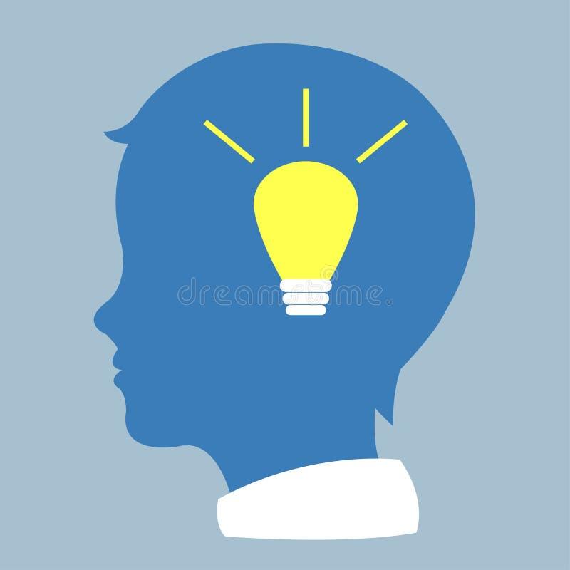 Profil humain avec l'ampoule illustration libre de droits