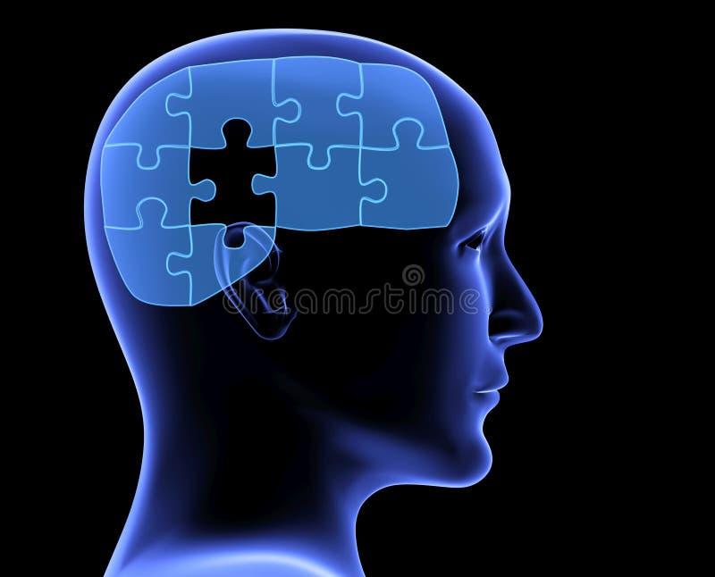 Profil humain et cerveau sous forme de puzzle illustration libre de droits