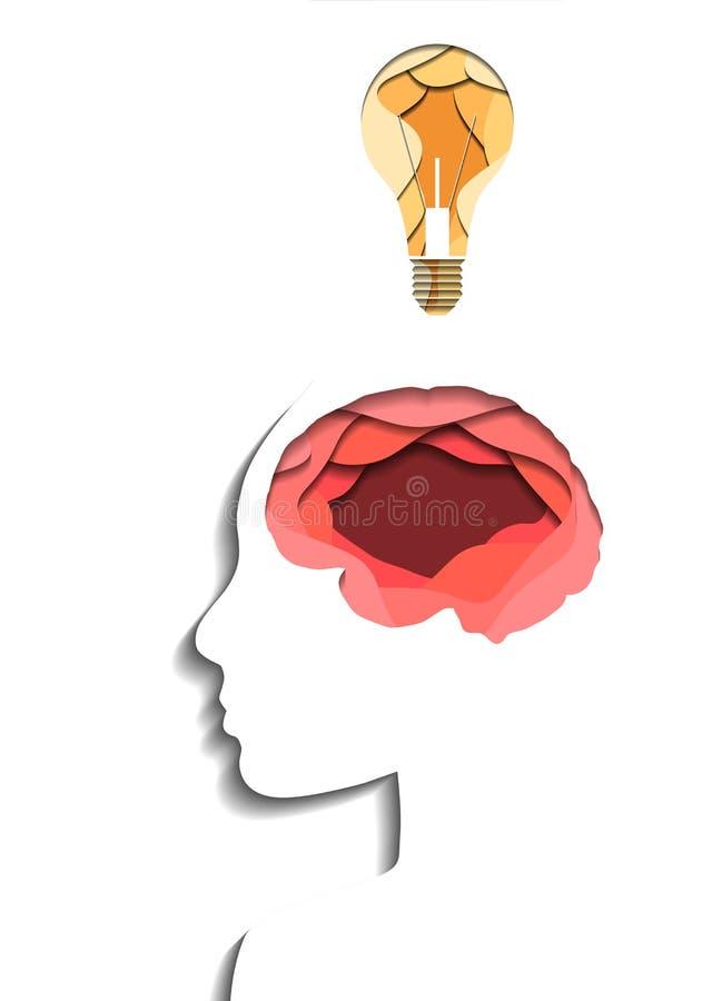 Profil humain posé, cerveau et ampoule coupée du papier sur le fond blanc Origami de coupe de papier Idée et éducation Vecteur 3D illustration stock