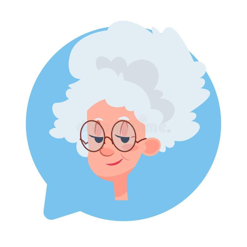 Profil-Ikonen-älterer weiblicher Kopf in der Chat-Blase lokalisiert, älteres Frauen-Avatara-Zeichentrickfilm-Figur-Porträt vektor abbildung