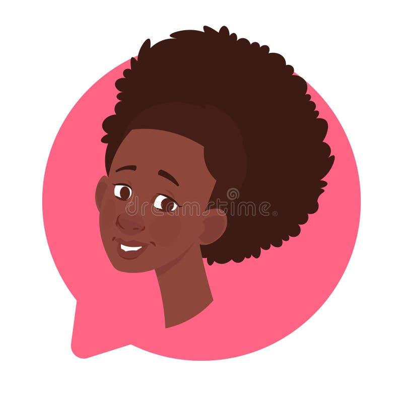 Profil-Ikonen-Afroamerikaner-weiblicher Kopf in der Chat-Blase lokalisiert, Frauen-Avatara-Zeichentrickfilm-Figur-Porträt lizenzfreie abbildung