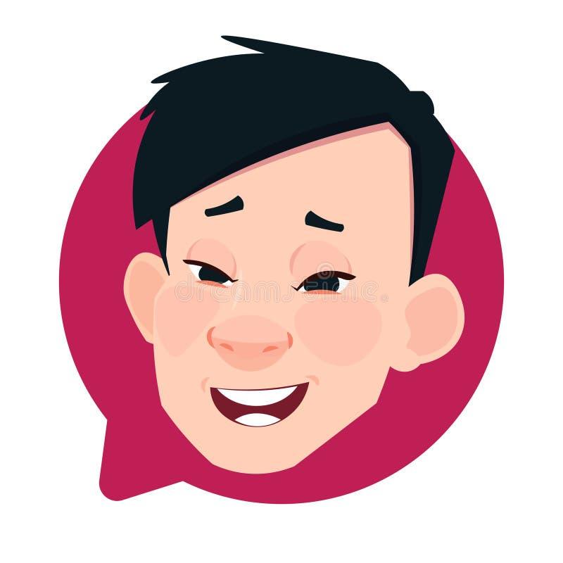 Profil-Ikonen-asiatischer männlicher Kopf in der Chat-Blase lokalisiert, Mann-Avatara-Zeichentrickfilm-Figur-Porträt vektor abbildung