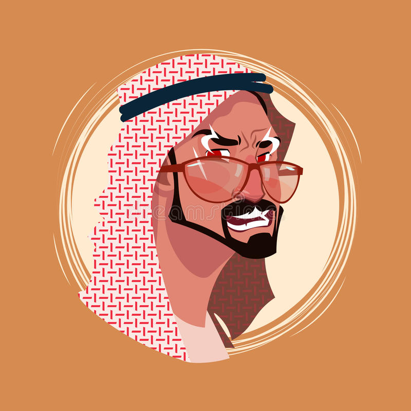 Profil-Ikonen-indischer männlicher Gefühl-Avatara, Mann-Karikatur-Porträt-verärgertes Gesicht vektor abbildung