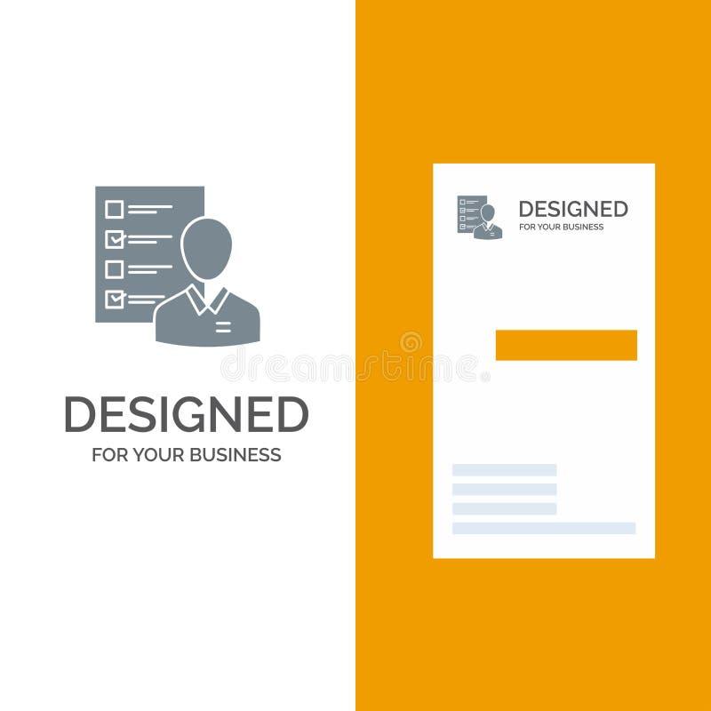 Profil, kapaciteter, affär, anställd, jobb, man, meritförteckning, expertis Grey Logo Design och mall för affärskort vektor illustrationer